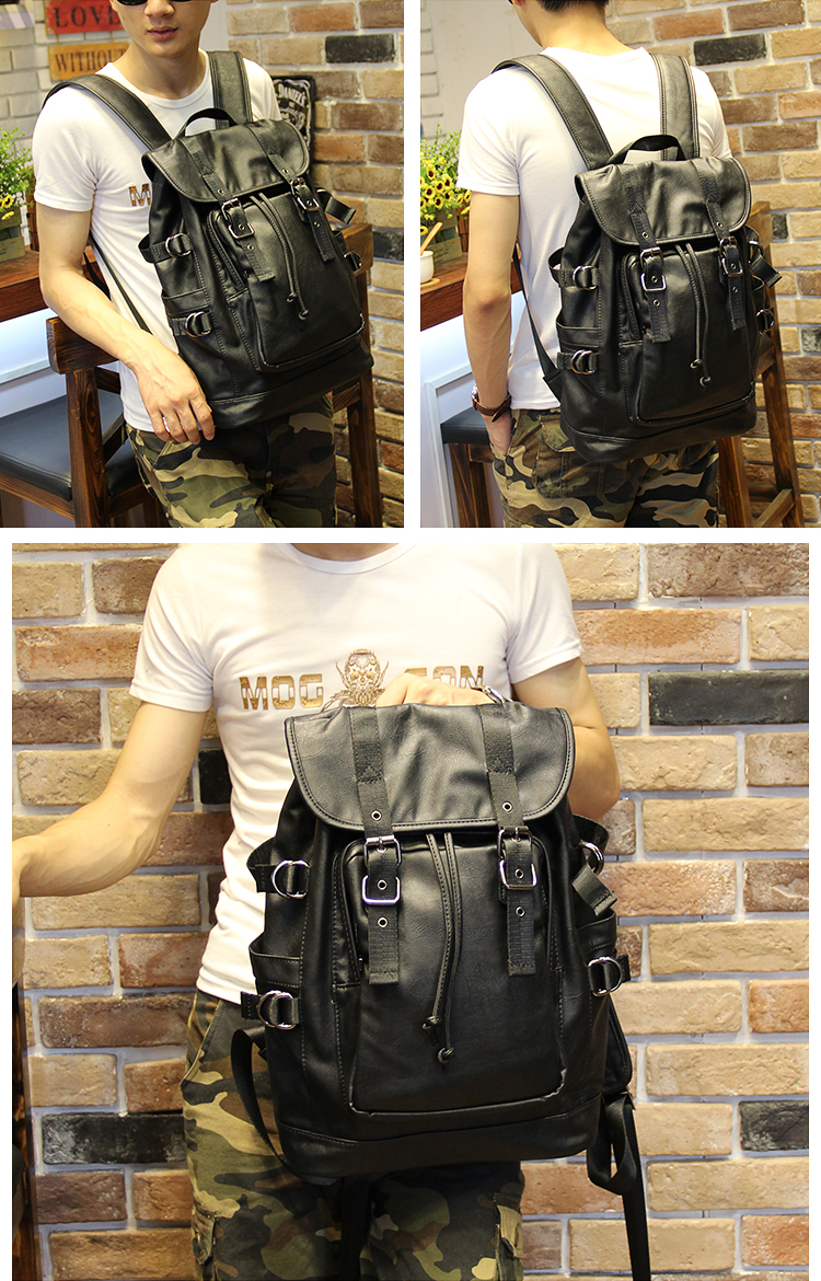051018 new hot man fashion leather travel backpack student school bag 15