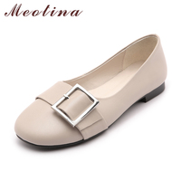 Meotina Genuine Leather Shoes Women Ballet Flats Buckle Boat Shoes Women S Moccasins Cow Leather Flat