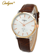 Onlyou Brand Lovers Watch Japan Imported Full Steel Quartz Movement Hardlex Genuine Leather Watchband Women Men