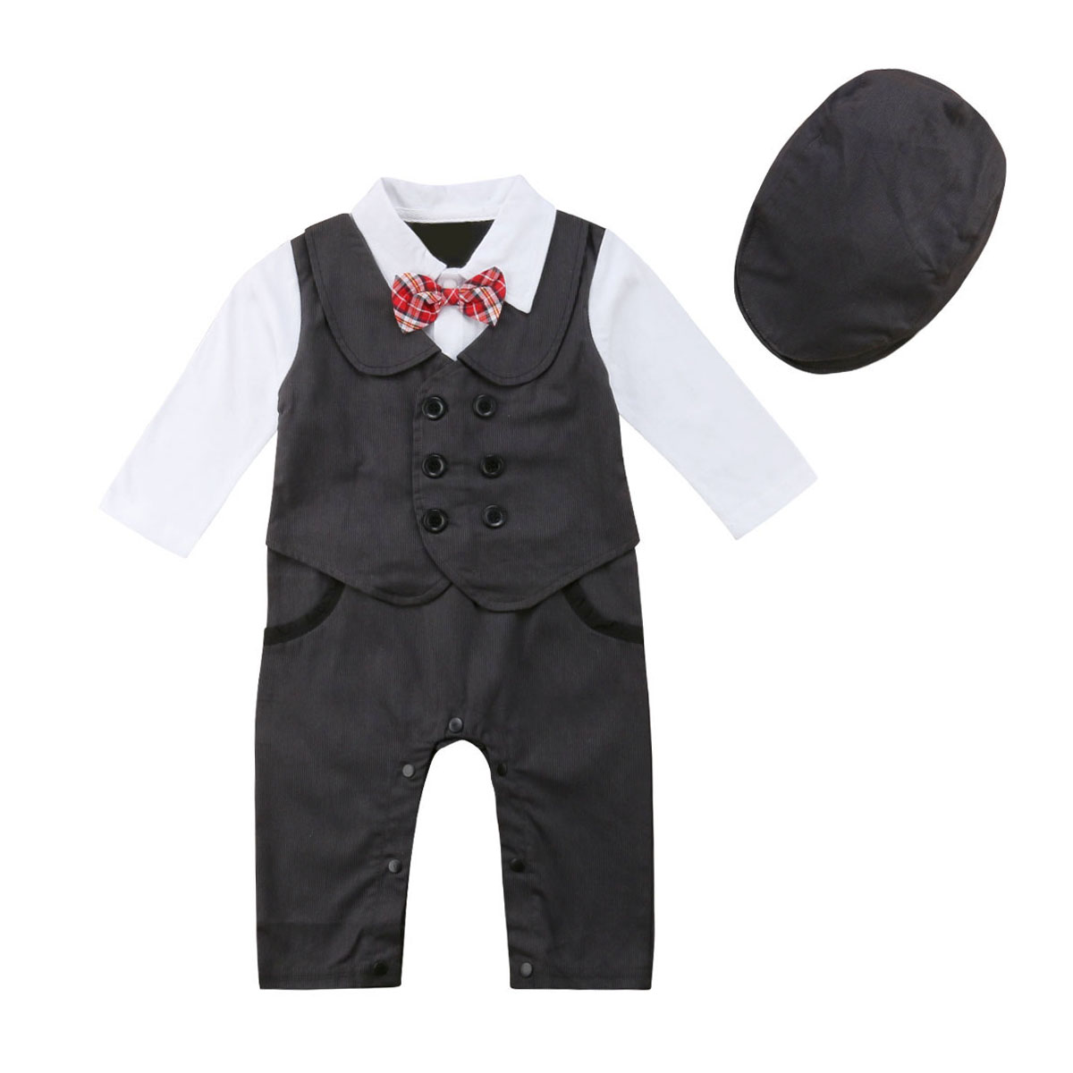 NEWBABY Tuxedo Printed With Bow Tie Toddler Long Sleeves Romper Bodysuit For 6-24m Baby
