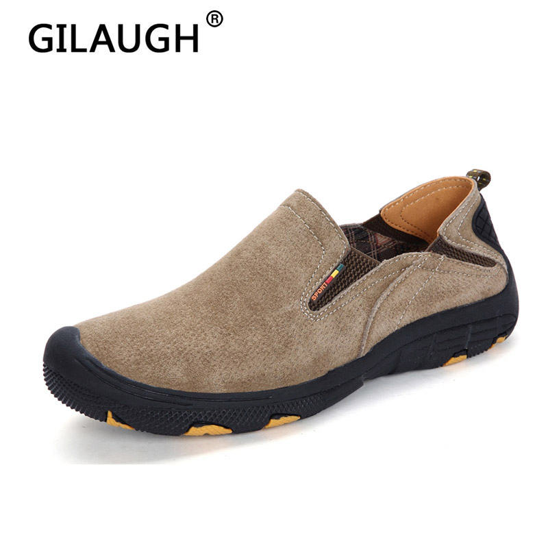 GILAUGH New 2018 Fashion Sneakers Style Genuine Leather Men Casual Shoes High Guality Breathable Slip-On Loafers Men Shoes