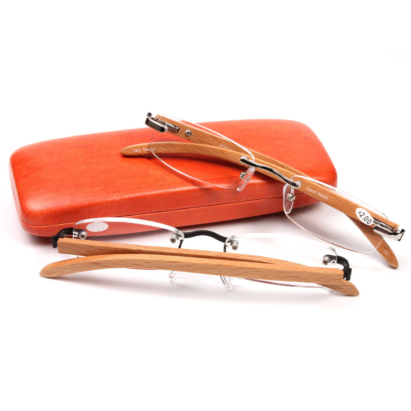 SALUTTO Wood bamboo reading glasses rimless metal frame high-grade resin reading glasses presbyopia