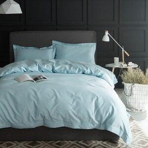 Image 3 - 1000TC Egypt cotton White Grey Bedding set 4PCS KING QUEEN SIZE tribute silk Bed set Cotton bedsheet bed linen linge de lit