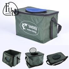 FunSeries Folding Live Fish BOX Plastic Carp Rod Bucket Water Tank With Handle Bags Fishing Tackle Accessories