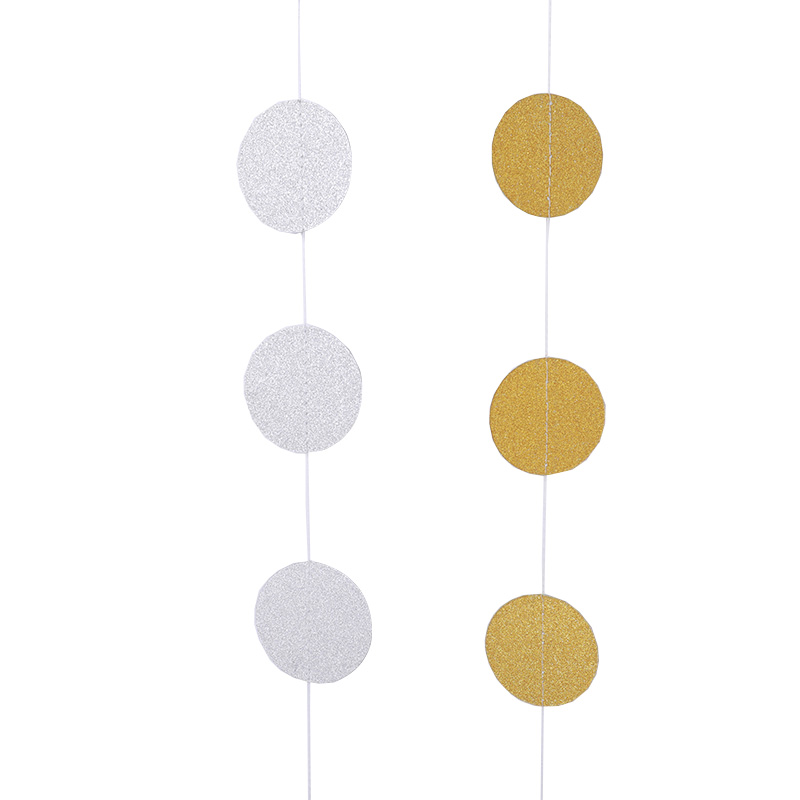 Glitter Bling 2MCircle Polka Dots Paper Garland Gold And Silver Wall Hanging Paper Birthday Party Wedding Layout Supplies in Banners Streamers Confetti from Home Garden