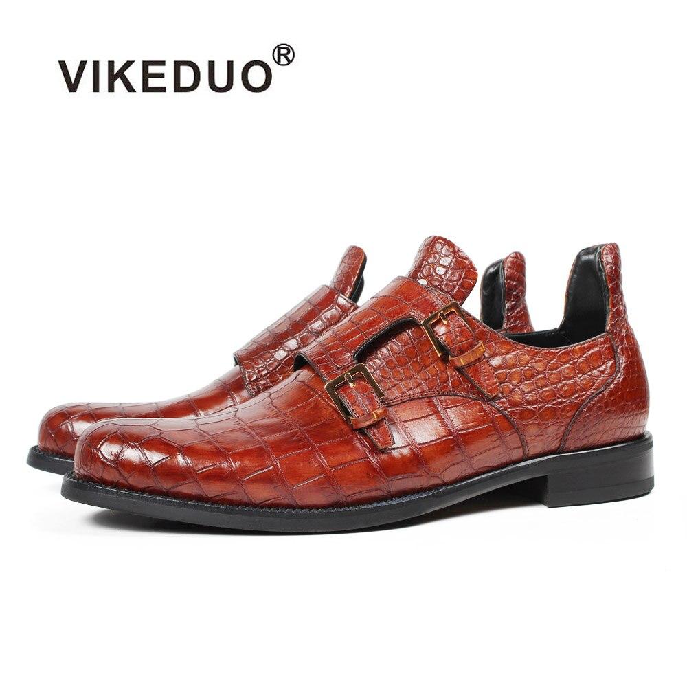 871660958 Vikeduo 2019 اليدوية مصمم الأزياء الفاخرة الزفاف العلامة التجارية الذكور حذاء  جلد طبيعي رجالي الرسمي تمساح