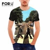 FORUDESIGNS Guns N Roses Led Zeppelin The Beatles T Shirt Men 3D Short Sleeve Hip Hop