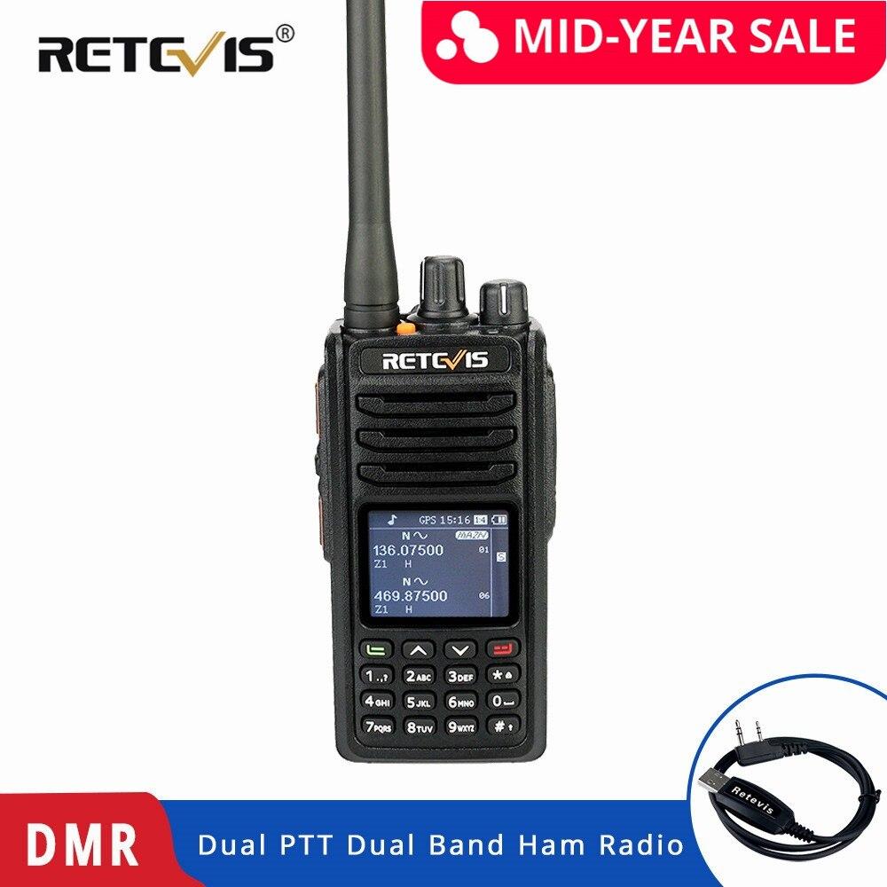 Rechapé RT52 DMR Radio numérique talkie-walkie double PTT double bande DMR VHF UHF GPS bidirectionnel Radio chiffrée jambon Amateur Radio + câble