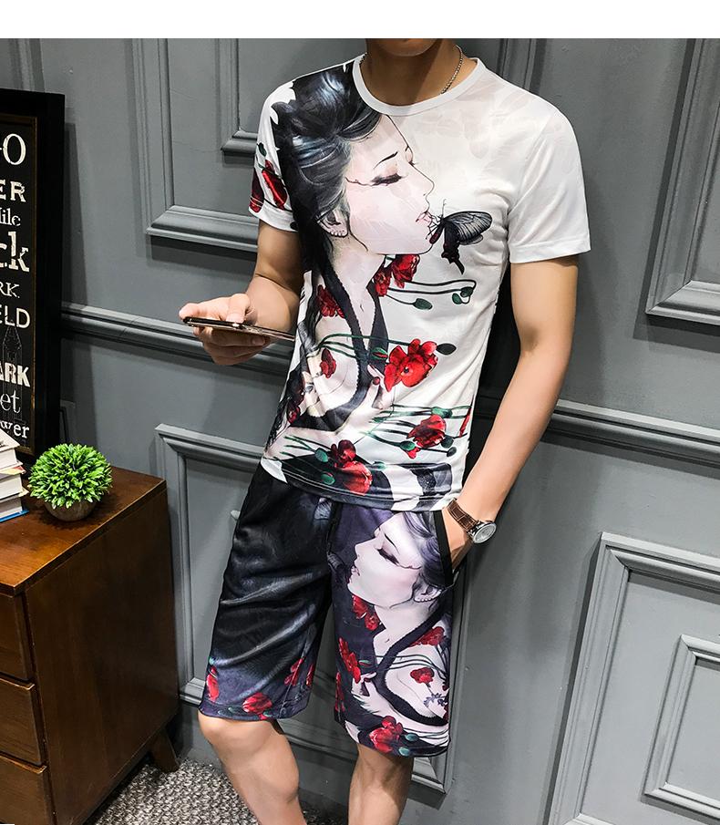 Loldeal Summer 3D Beauty Women's Print Set Ice Silk Short Sleeve T Shirt + Shorts Set Men's Print Butterfly Men's Set-in Men's Sets from Men's Clothing on Aliexpress.com   Alibaba Group 13
