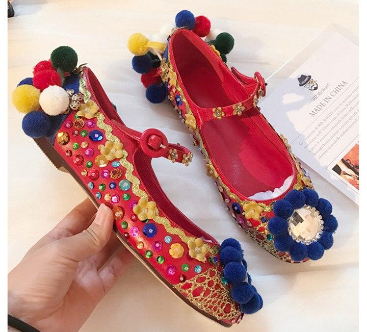 Haute qualité strass paillettes chaussures plates mode femmes rétro Mary Janes chaussures Chic femmes de mariage chaussures EU35-40 taille BY636