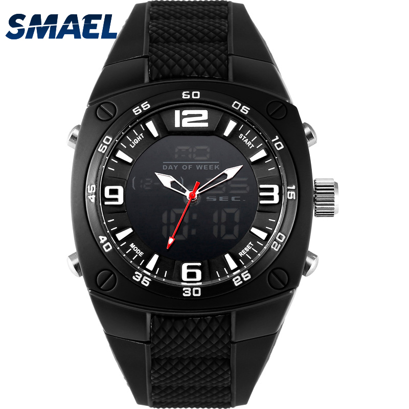 SMAEL New Men Analog Digital Fashion Military Wristwatches Waterproof Sports Watches Quartz Alarm Watch Dive relojes WS1008 attractive medium straight layered jacinth anime love live nishikino maki uniform style cosplay wig