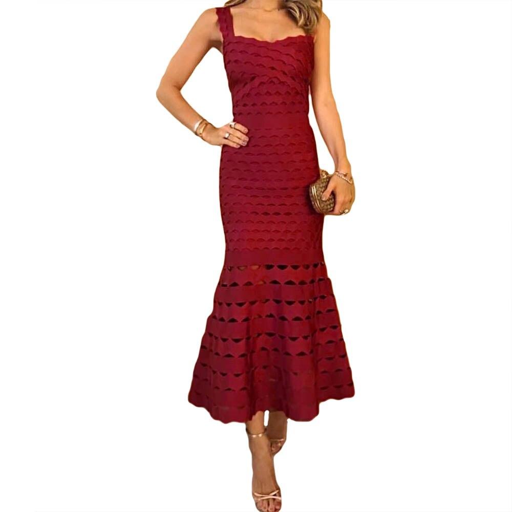 Di Modo delle donne 2019 Nuovo Vino Rosso Sexy Della Cinghia di Spaghetti del Vestito Dalla Fasciatura Senza Maniche in Jacquard UNA Linea Abiti Cocktial Vestito Da Partito