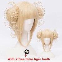 Tokyo My Hero Academia women Cosplay blonde wig Himiko Toga Cosplay Wig Boku no Academia Styled golden Wig with 2 false tooth