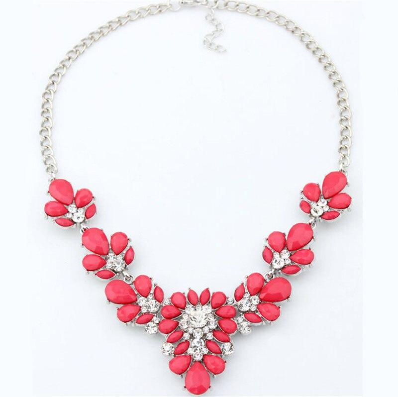 b4780306a5b7 Caliente cristal flor collar babero declaración burbuja chunky gargantilla  colgante collar cadena