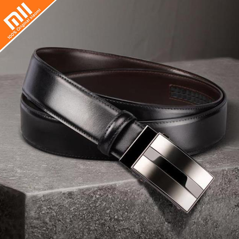 Original xiaomi mijia seven-sided Italian leather automatic buckle belt men's two-color alloy buckle type can cut length stylish alloy buckle solid color faux leather men s belt