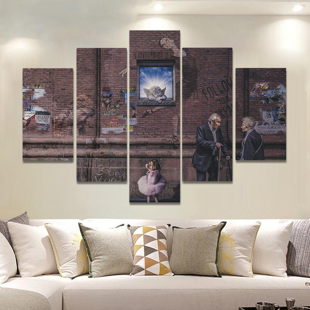 Unframed Canvas Painting Red Brick Wall Graffiti Old People Art Picture Prints Wall Picture For Living Room Wall Art Decoration