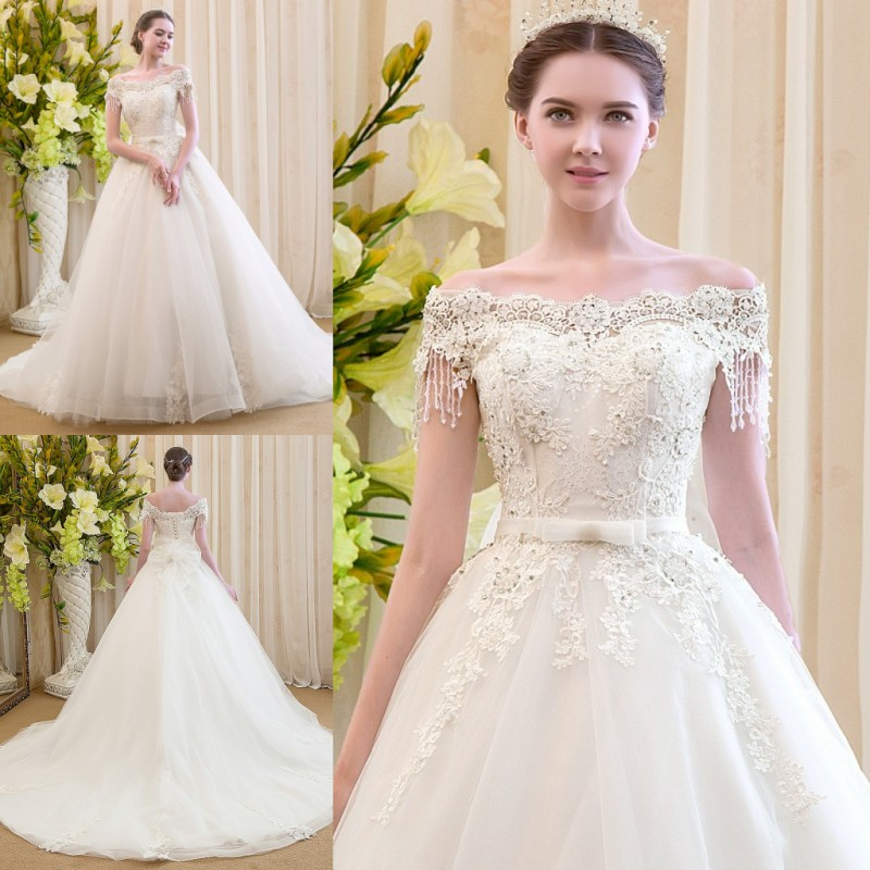 Wedding Gowns 2017 Beaded Corset Back Ball Gown Lace