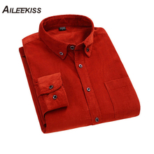 AILEEKISS Fashion Soft Comfortable Cotton Corduroy Shirt Casual Mens Solid Color Male Slim XT755