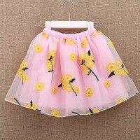 Girls Skirt Kids Mesh A Line Floral Skirt 2019 New Children Mini Tutu skirt Child Summer Skirt Above Knee