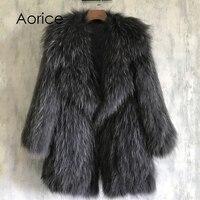 Aorice סרוג נדל דביבון פרווה מעיל/jacket/נשים מעיל פרווה מקורית חם בסגנון ארוך 170916