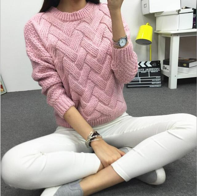 2015 New Women's Coarse Wool Woven Grid Variegated Plaid Warm Spring Autumn and Winter Casual Long Sleeved Pullover