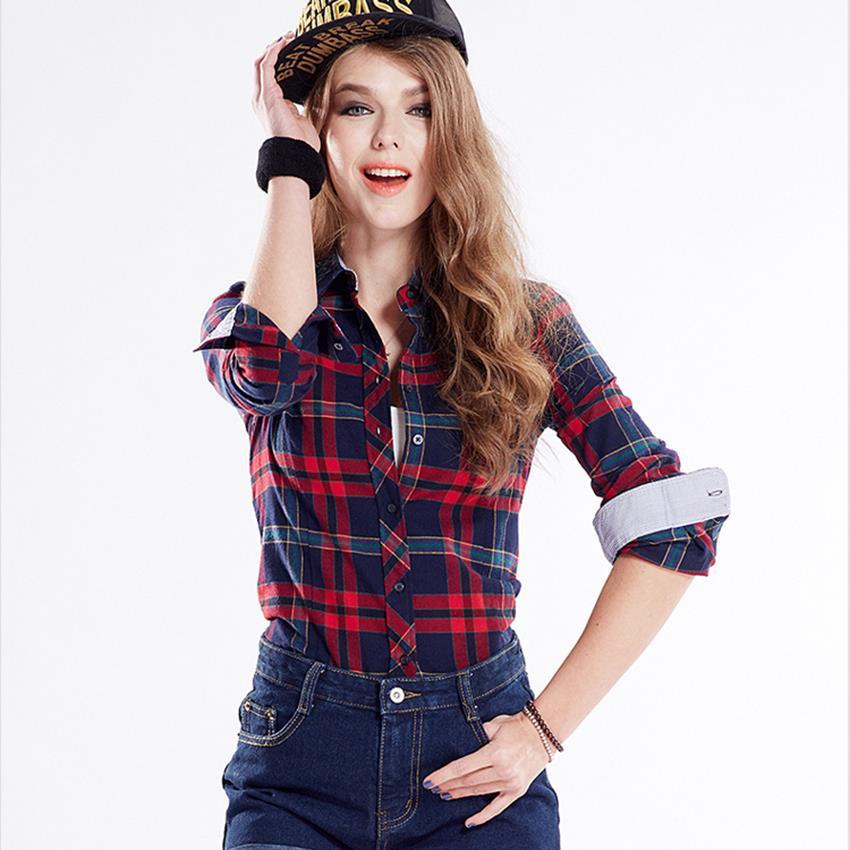 f065b441b7547 2016 de La Moda de Primavera de Las Mujeres de Algodón Rojo Plaid Camisa de  La Blusa Ocasional Blusa de Manga Larga de Franela Camisas Blusas y Camisas  de ...