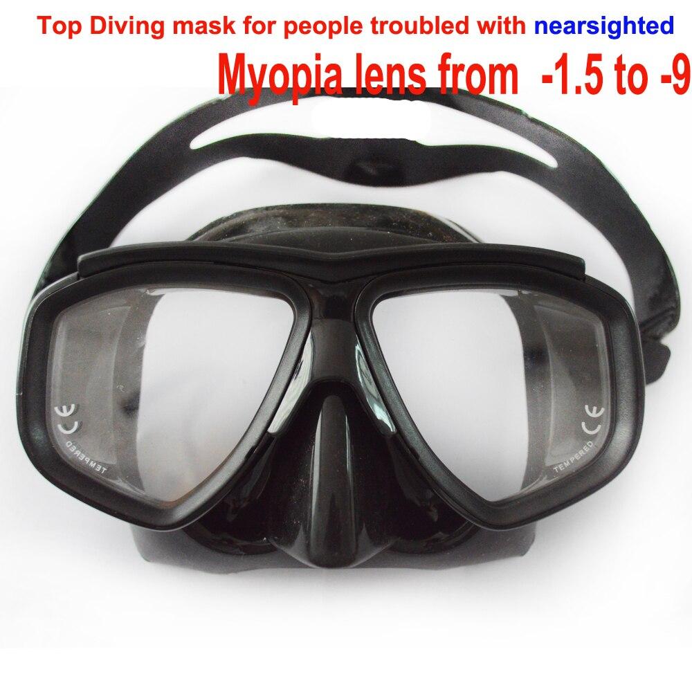 Profesional cristal templado miopía lente buceo máscara de buceo óptico buceo máscara de silicona negra de bajo perfil máscara de spearfish
