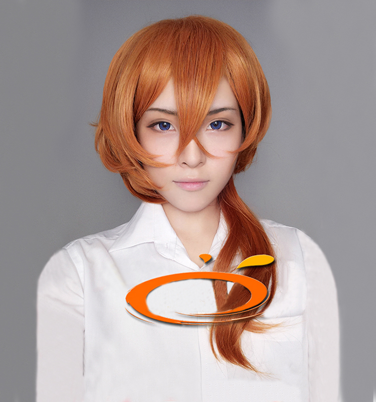 Anime Bungo Stray Dogs Chuya Nakahara Chuuya Brown Orange Heat Resistant Cosplay Costume Wig + Track + Cap