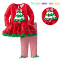 New 2015 baby girls fashion suit kids clothing sets Christmas baby Holiday Suit Christmas Tree dress +Leggings Toddler Suit