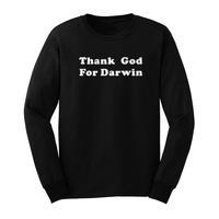 Mens Thank God For Darwin Evolution Science Funny Long Sleeve T Shirts Casual Men Tee
