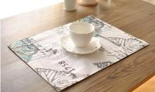 American Rustic Cotton Linen Placemat Fabric Dining Table Mats Rugs Table Pad Coaster Butterfly Table Decoration Kitchen wares