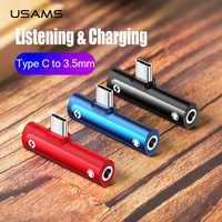 USAMS Type C Male to 3.5mm Female Adapter Type-c OTG Converter Charger&Listen&Call&Volume Audio Adapter for Samsung USB C Charge