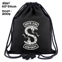 South Side Serpents Riverdale Cosplay Costume Canvas Travel Bag Women Men Boys Simple School Backpack Drawstring Bag Backpack(China)