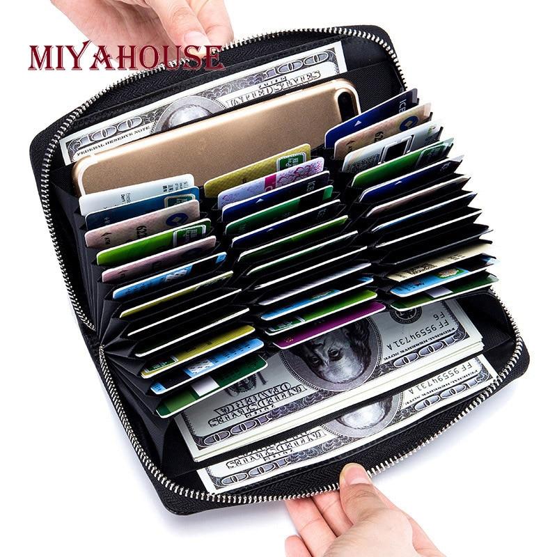 Miyahouse Unisexe Carte Porteurs Wallet Split En Cuir Mâle D'affaires RFID Cartes Portefeuille Haute Capacité Femelle Détenteurs De Crédit Sacs À Main
