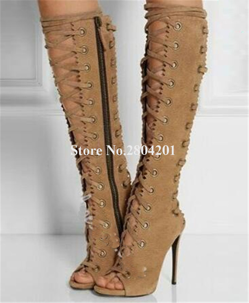Women Brand Design Peep Toe Suede Leather Knee High Thin Heel Gladiator Boots Lace-up Cut-out Long High Heel BootsWomen Brand Design Peep Toe Suede Leather Knee High Thin Heel Gladiator Boots Lace-up Cut-out Long High Heel Boots