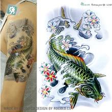 Body Art Beauty Makeup Cool Green Japanese Carp  Tattoo 15D Waterproof Temporary Tattoo Stickers