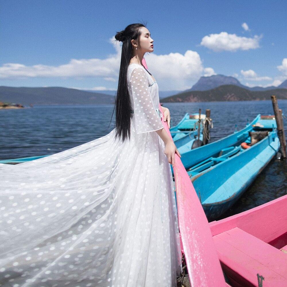 Arrivée Tulle Irinaw696 À Vintage Nouvelle D'été 2018 Grand Pois Longue Robe Blanc Fond vN0mwO8n