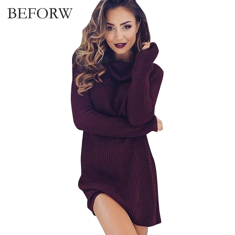 BEFORW Woolen Dress Fashion Autumn And Winter Dresses Sexy High Necked Long Sleeve Dress Women Knitting Casual Sexy Mini Dress