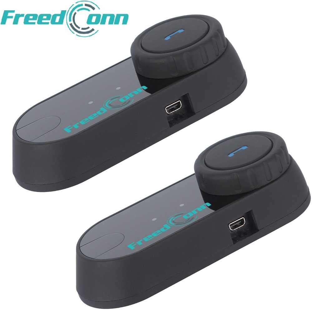 2pcs FreedConn Original T-COM FM Bluetooth Motorcycle <font><b>Helmet</b></font> Intercom Interphone Headset+Soft Microphone for Full Face <font><b>Helmet</b></font>