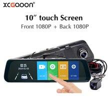 цена на XCGaoon 10 inch Touch screen Car DVR Rear View Mirror Dash cam Car Camera Dual 1080P Back Camera Dual lens video Recorder