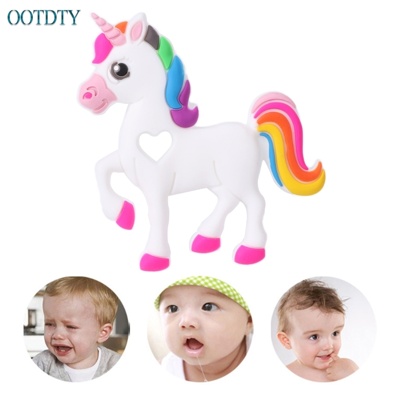 Fashion Design Silicone Unicorn Teethers Food Grade BPA Free Baby Teether Toys Necklace Pendant #330