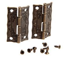2Pcs Antique Bronze Hinges Door Hinges Cabinet Drawer Jewelry Box Hinge For Furniture Hardware Door Corner Protector 36x23mm цена 2017