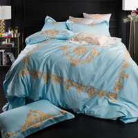 Wathet/Violet luxury Embroidery 60S Egyptian Cotton Bedding Set Duvet Cover Bed Linen Bed sheet Pillowcases Queen King Size