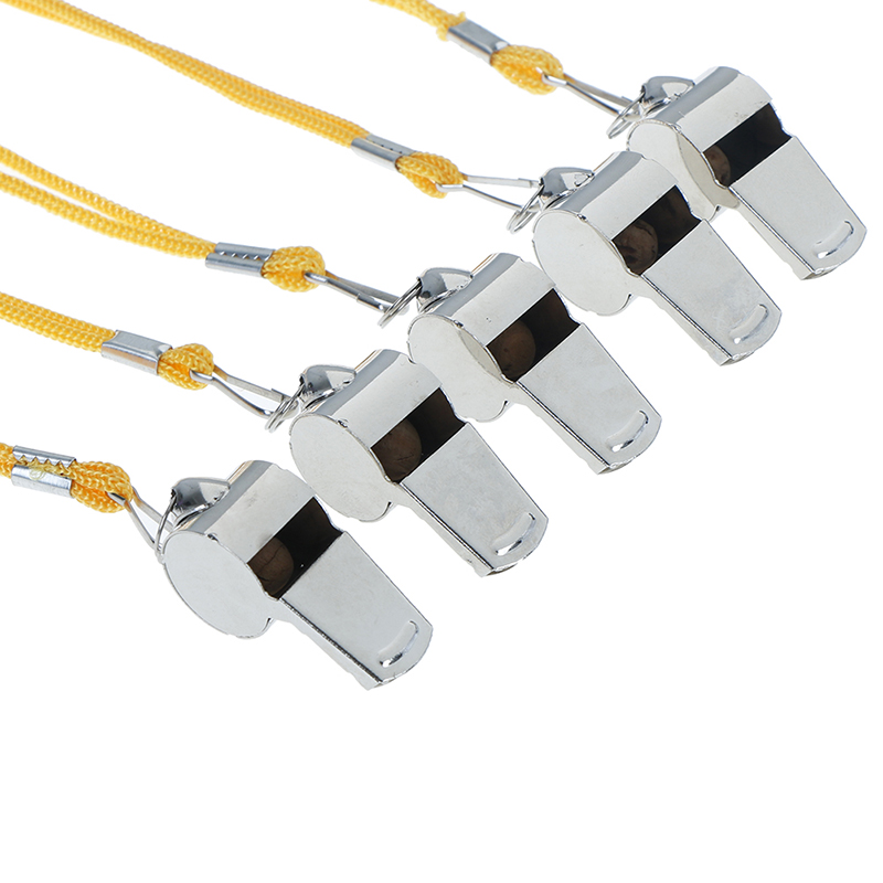 1pc Stainless Steel Copper Referee Whistle Survival With Rope Metal Steel Whistle Sports Outdoor Basketball Football