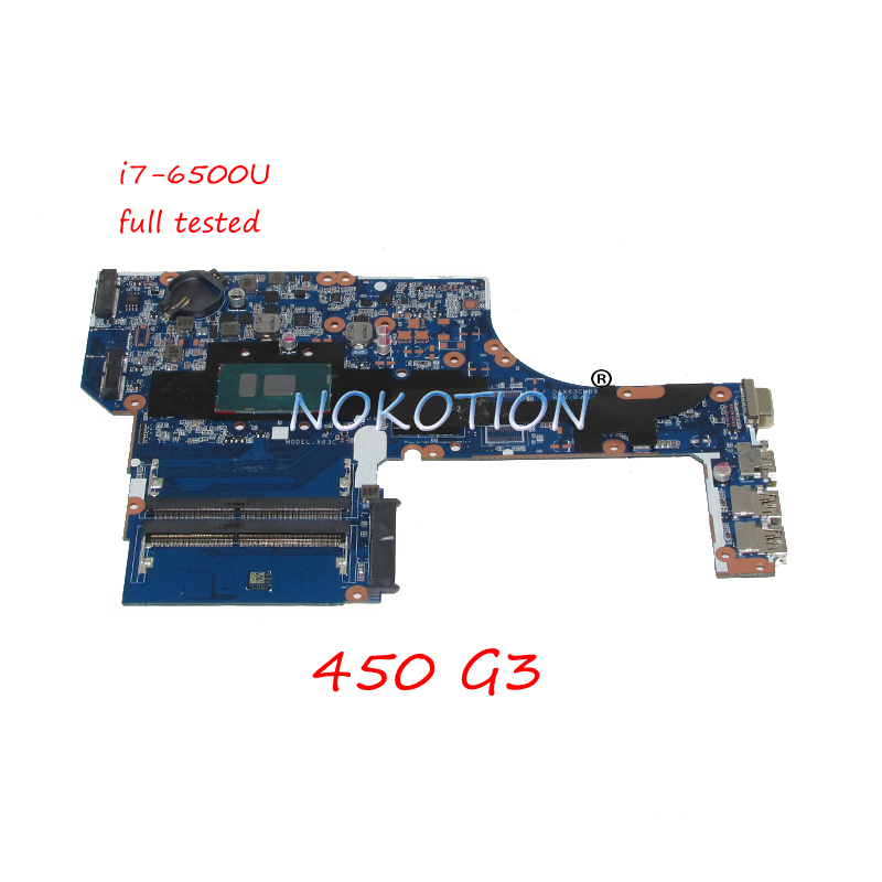 NOKOTION DAX63CMB6D1 laptop motherboard For HP ProbBook <font><b>450</b></font> G3 SR2EZ I7-6500U DDR4 Main board full tested image