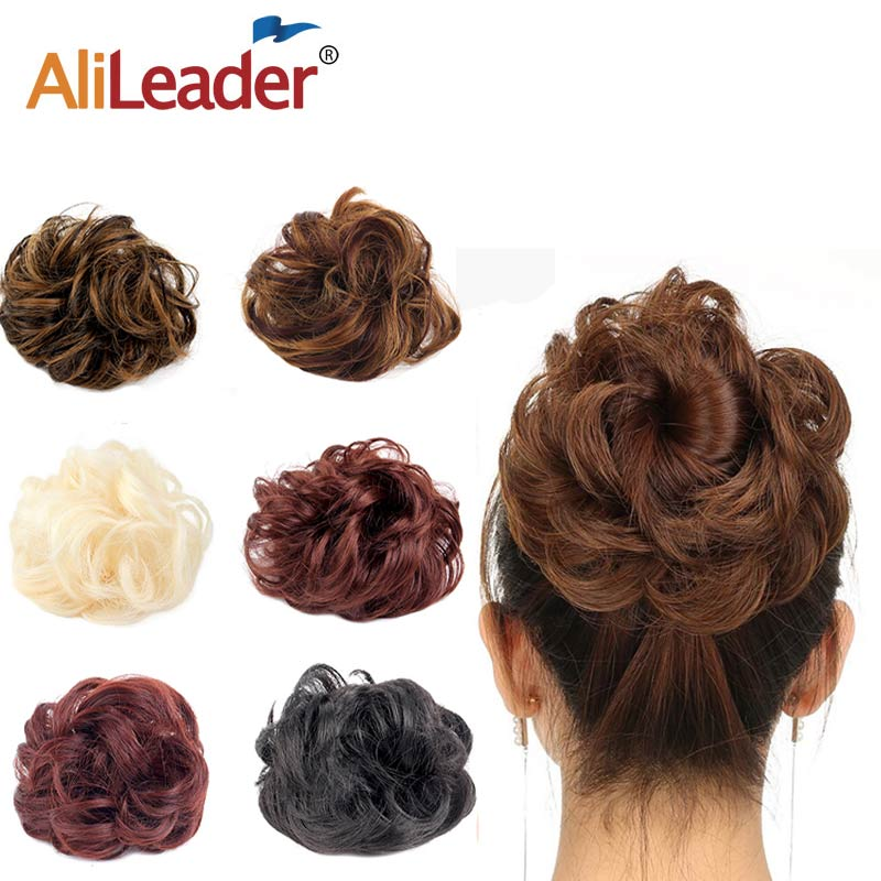 AliLeader Curly Hair Chignon Heat Resistant Fiber Black Brown Women Synthetic Updo Hair Buns Wig Lady Chignons For Brides/Party