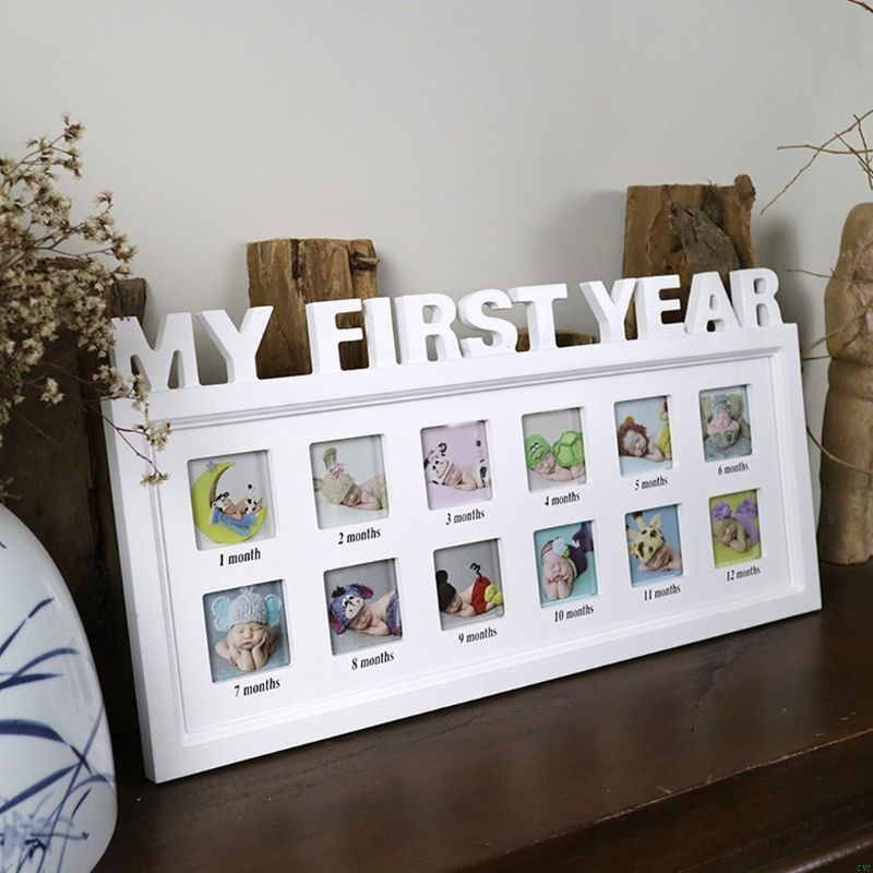 """Creative DIY 0-12 Month Baby """"MY FIRST YEAR"""" Pictures Display Plastic Photo Frame Souvenirs Commemorate Kids Growing Memory Gift(China)"""