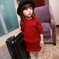100% хлопок девочек юбки о-образным вырезом красный вязаный свитер платья твердые полные девушки одежда устанавливает сгущает принцесса одежды
