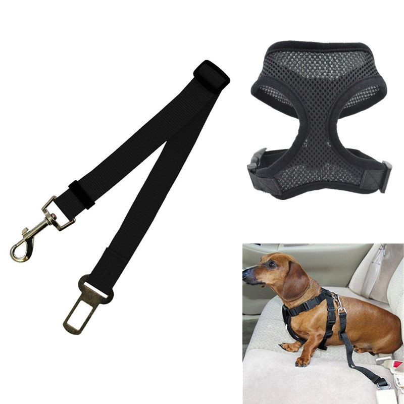 1pc Dog Car Seat Belt Auto Pet Safety Belt Vehicle Puppy Cat Life Belt for Harness Collar Set Free Hand Leash Adjustable