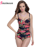2016 Large Cup Plus Size One Piece Bathing Suit Flower Printed Maillot De Bain Sexy Backless